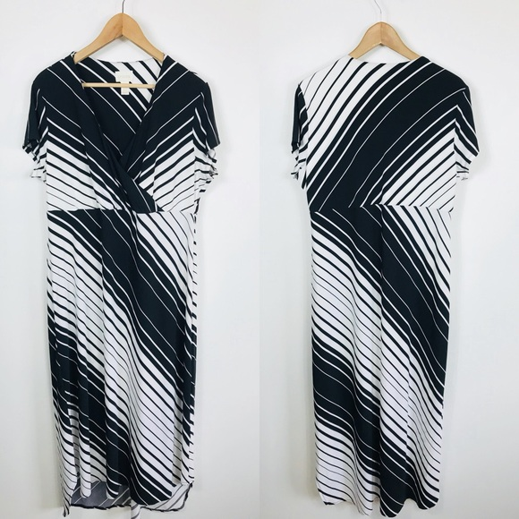 8e4aa717ee Chico s Dresses   Skirts - Chico s 3 XL V-Neck Black White Striped Maxi  Dress